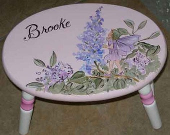 oval fairy step stool, hand painted step stool, girls step stools, personalized kids gifts