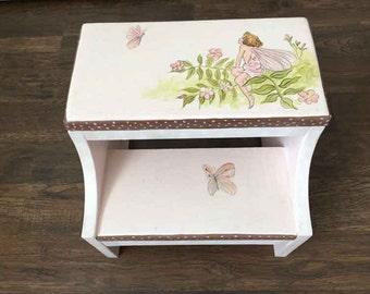 girls pink flower fairy step stool