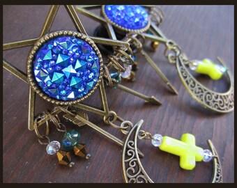 """Occult unholy Pentagram cross dangle EAR PLUGS earrings pick gauges - 2, 0, 00g, 7/16, 1/2, 9/16, 5/8, 11/16"""" aka 6, 8, 10, 12, 14, 16, 18mm"""