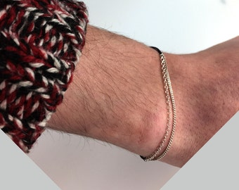 Man minimalist bracelet, doble silver chains and resistant sewing threads - link to knot