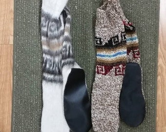 Alpaca fur leather bottom slipper socks-alpaca socks-leather slippers-fur slippers-alpaca slippers