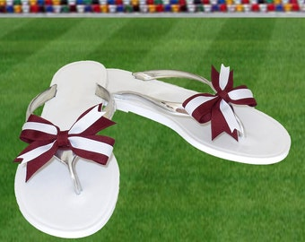 Deep Red + White Bow Jelly Sandals