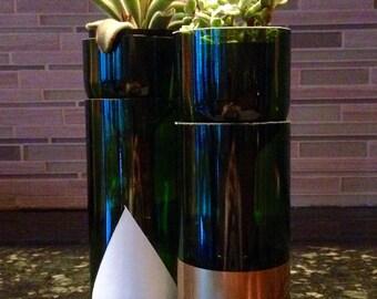Wine bottle planter-self-watering