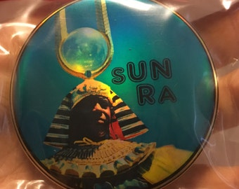 "SUN RA 70s Arkestra Afrofuturism Space Is The Place jazz icon golden holographic 2.25"" button"