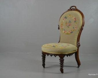 Antique Victorian Rosewood Floral Needlework Nursing Chair