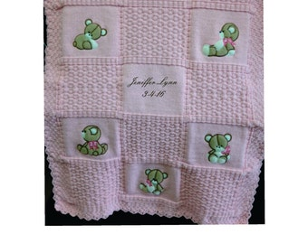 Pink Teddy Bear knitted Blanket