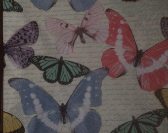 Paper napkin for mixed media, collage, scrapbook, decoupage x 1 Let's Fly Lunch size