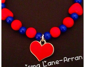 Personalised CHD awareness beaded bracelet