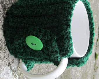 Green Crochet Mug Cozy With Button Ready to Ship