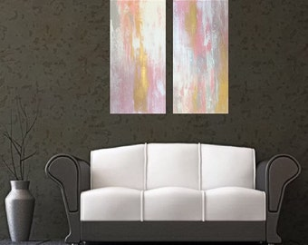 CUSTOM ART Large Pink and gold abstract painting pink wall art gold wall art pink and silver gold decor pink decor pink decor large artwork