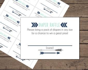 Tribal Baby Shower Diaper Raffle Ticket - Printable : Instant Download _112