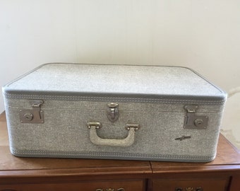 Vintage Airway Luggage Gray Tweed