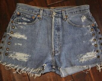 Vtg Vintage 80 90s Women's Levi's 501 Blue Denim Jean Shorts Button Up Torn Distressed Upcycled Studded