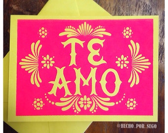 Screen printed Te Amo Greeting Card