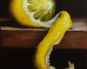 Peeled Lemon Original Oil Painting still life by Jane Palmer