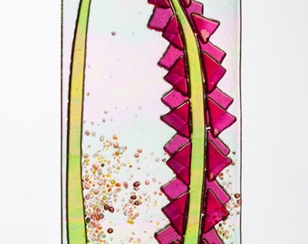 Handmade Pink Lupine Flowers Spring Suncatcher Ornament Fused Glass