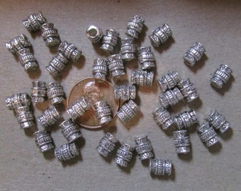 """5mm x 8mm-  Southwest Patterned """"Tibetan Silver"""" Tube Shaped Beads- Silver Tone Metal Alloy Spacer Beads  *Choose Lots of  25 or 100 *"""
