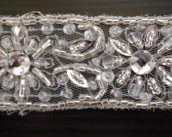 Heavily Beaded Edgings for trimming Wedding Dresses or Ball Gowns. Choice of 5 designs. By the Half Meter