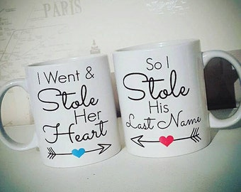 Wedding Gift | Pair Of Mugs | I Stole Her Heart | I Stole His Last Name | Wedding Mugs | Personalised Mugs | Personalised Gift | His And Her