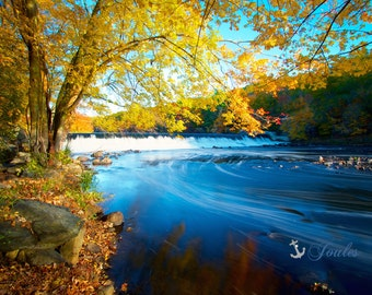 Albion Dam ~ Lincoln, Rhode Island, Fall Foliage, Waterfall, Autumn, Wall Art, Photography, Fine Art, New England Artwork, Home Decor,Joules
