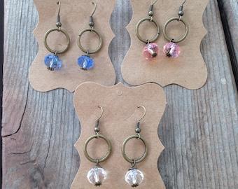 Crystal Circle Earrings(handmade, dangle earrings, glass beads)