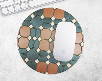 Mouse Pad Marble Tile MousePad Black Mouse Mat MousePad Teacher Gift for Dad MouseMat Round or Rectangular Brown MousePad Desk Accessories