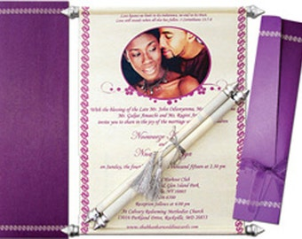 100 Personalised Scroll Invitations with box all colours available