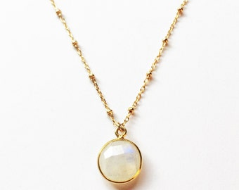 Luna Necklace // Gold Fill // Gold Necklace, Moonstone Necklace
