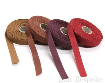 20 Meter Roll of 100% Italian Cotton Twill Kick Tape in Four Colors from Burgundy to Brown