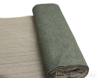 Heathered Moss Green Undercollar for Tailoring - Ready Made, Melton with Canvas, Sold by the Yard