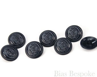 Set of 12 Metal Anchor Buttons in a Navy Enamel Finish, 32 Line
