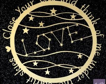 FRAMED Love constellation papercut