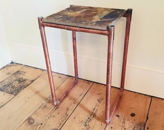 Copper Side Table - Made to Measure - Inc Tile