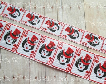 "7/8"" 1.5"" Queen Of Hearts Alice Deck Of Playing Cards Red Glitter Ink US Designer Grosgrain Ribbon"