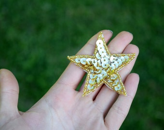 4 Delightful Gold Sequin and Bead Iron on Star Patches