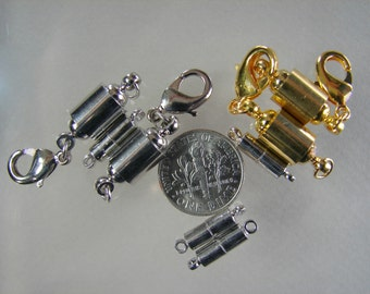 WHOLESALE. Magnetic Clasps, with Lobster Claw Clasps and Column, Brass plated with Golden,Platinum, Silver.   (OT-A027-028-029-030)