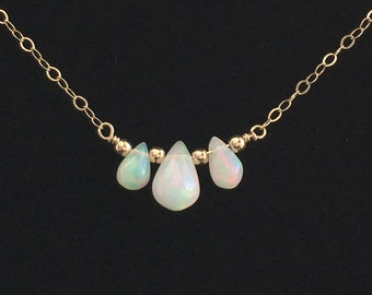 Opal Choker Necklace - Dainty Gold Opal Necklace - Genuine Opal Necklace - Also Avail Silver and Rose Gold - Ethiopian Opal