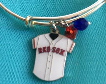 Red Sox bracelet; Boston bracelet; baseball bracelet; baseball charm bracelet; Boston Red Sox bracelet; MLB bracelet