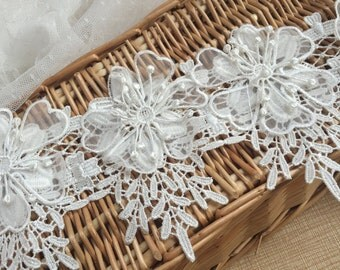 "Ivory Floral Lace Trim Embroidery 3D Flower Lace Trim 4.84""  Wide 1 Yard S0211"