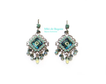 Oriental dangling green earrings