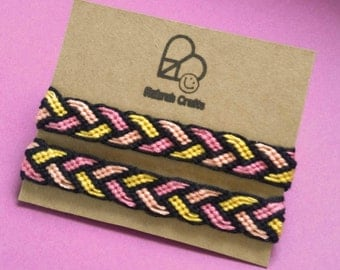 Braided friendship bracelet pair matching set of two plait weave hand knotted pink yellow braid woven wristbands best friends BFF share set