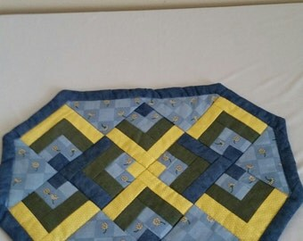 Quilted Green,Blue,Yellow Placemat Set of 4