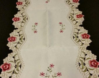 Pink & Green Off White Flower Table Runner