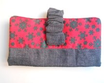 Christmas wallet/Handmade/Fabric wallet/Red and denim wallet