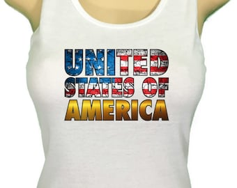 USA United States of America 4th of July Tank Top Womens workout top Independence Day Patriot