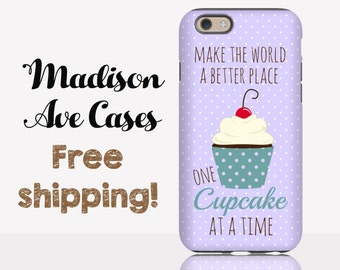 Phone Case Make The World A Better Place One Cupcake At A Time Cute Purple Teal Girly Polkadot Note 2 3 Samsung Galaxy S6 S7 Edge iPhone 6 7