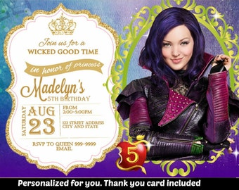 SUMMER SPECIAL- Descendants Birthday Invitation,descendants Invitation,descendants Invite,Birthday Invitation,descendants