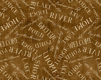 Lakeside Retreat Brown Words from Wilmington Prints by the yard