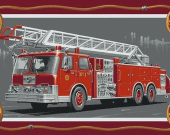 """24"""" x 44"""" Fire Rescue II Firetruck Panel from Blank Quilting by the panel"""