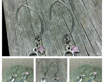 Breast Cancer Awareness Ribbon Dangle Earrings/10% goes to Breast Cancer Research